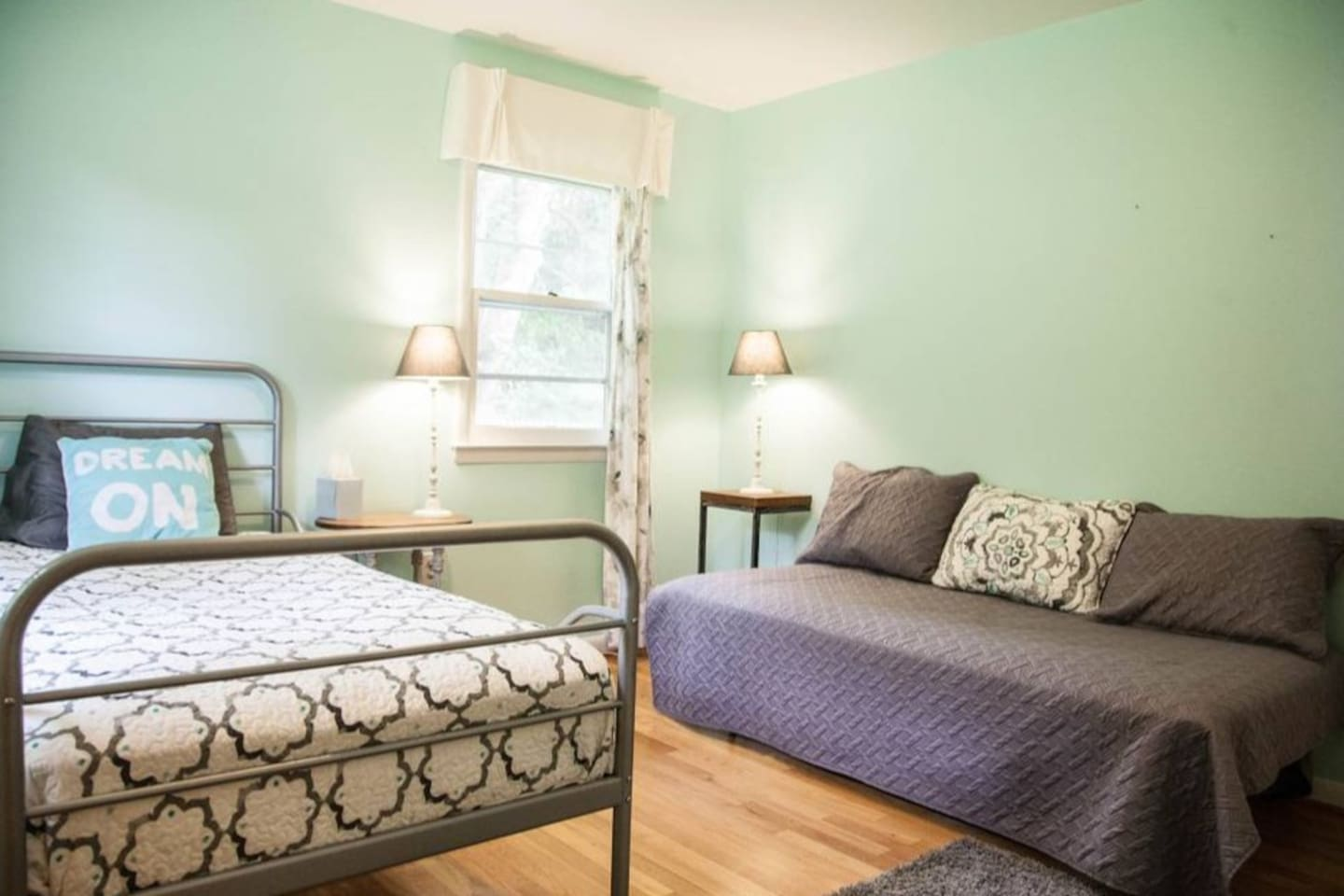 This light and airy room has 2 twin beds and a large closet.