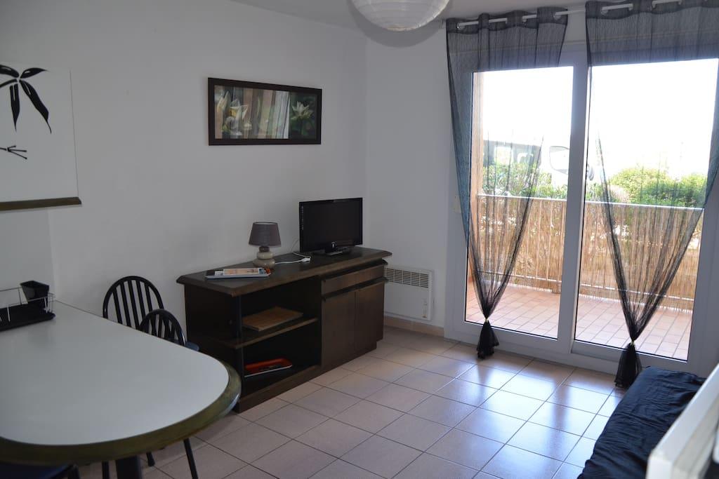 joli t2 agr able avec loggia vue mer et montagne appartements en r sidence louer banyuls. Black Bedroom Furniture Sets. Home Design Ideas