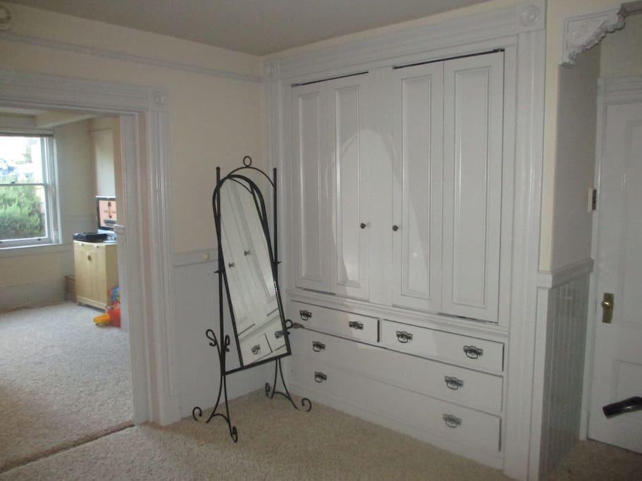 Built in closet in bedroom