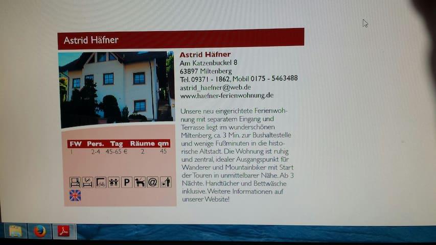 Ferienwohnung Häfner  in Miltenberg - Miltenberg - Departamento