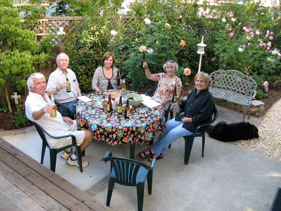 Friends enjoying Kate's patio!