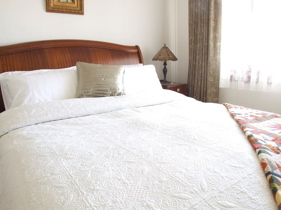 Master bedroom with Queen size bed, personal TV and heater