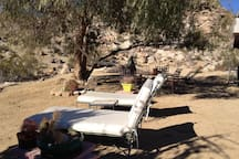 Private rock-filled 2.5 acres. Yes! a hammock, under a CA pepper tree.
