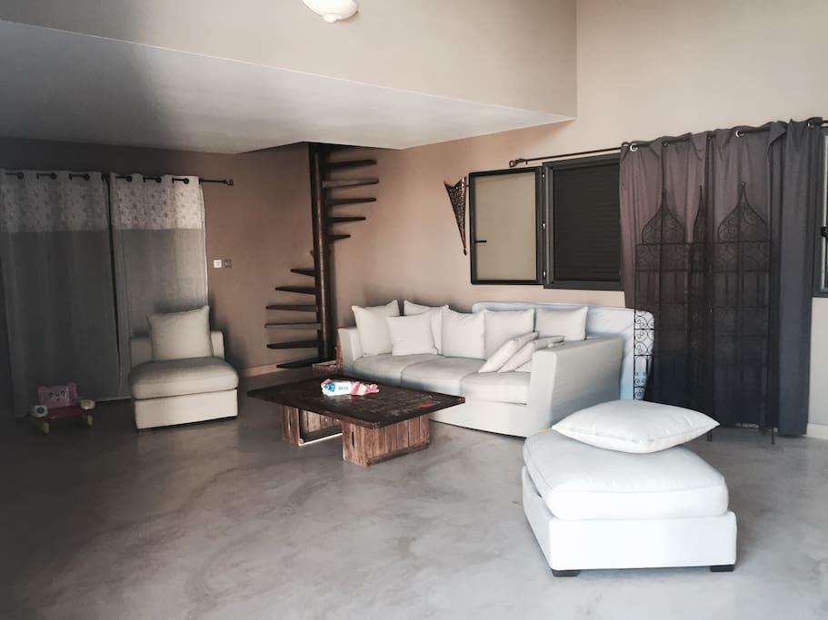 Salon de 50 mètres carrés. Sol Beton ciré