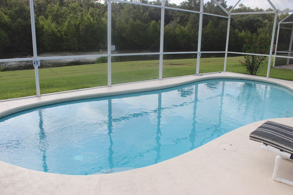 Pool area with deck and no rear neighbors