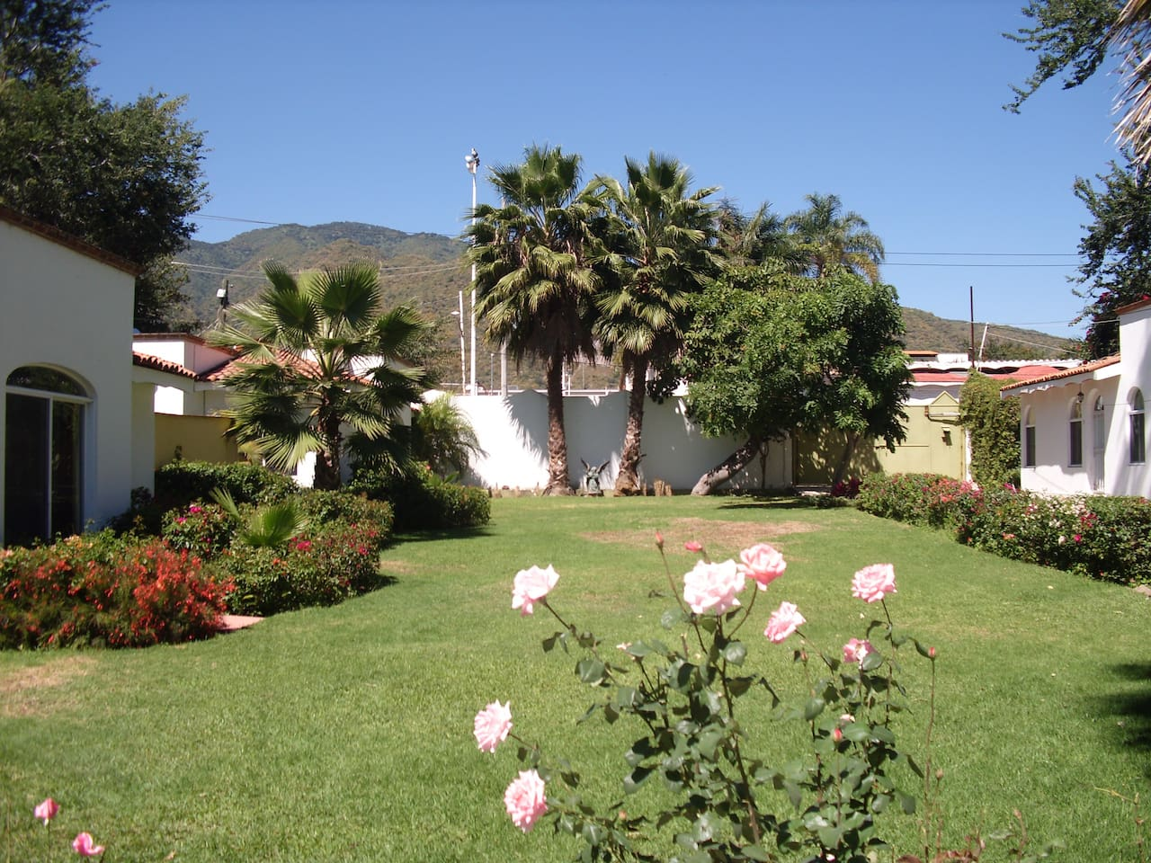 Common gardens with Casita A on the far left