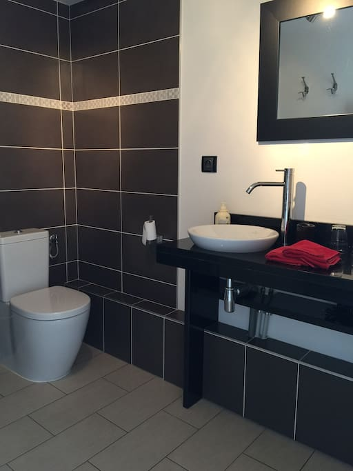 Salle de douches avec toilette