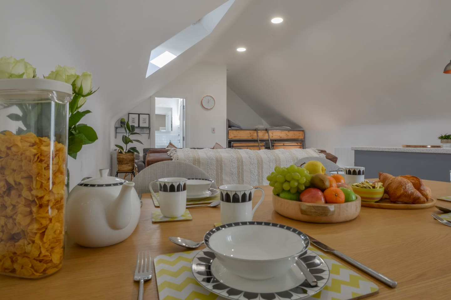 The Loft has full dining facilities which can seat 4 around the table and additional guests on the island