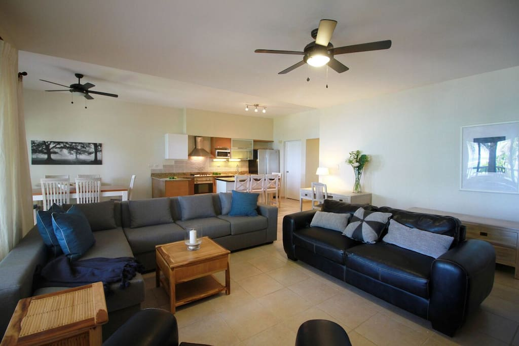 Living room with open kitchen