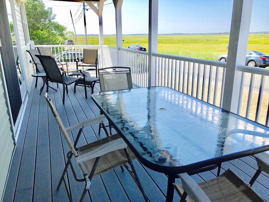 Front deck where the views of the sunset are seen