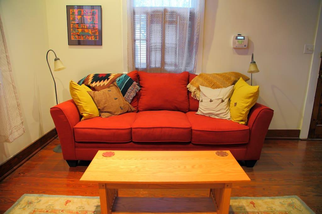 Queen sleeper couch in living room