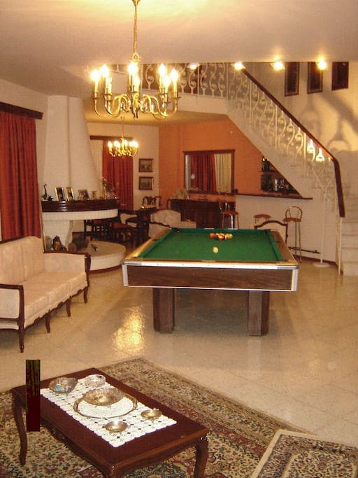 the living room, with billiards