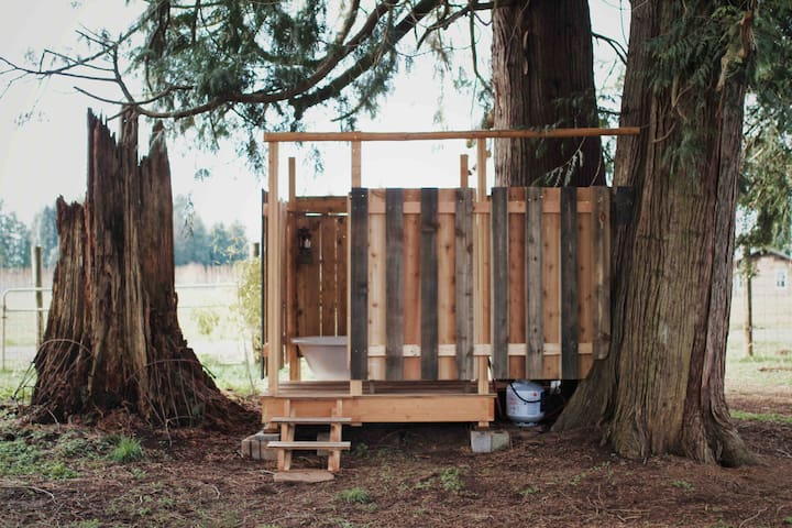 The Cozy Roller Airstream + Tree Fort Bath