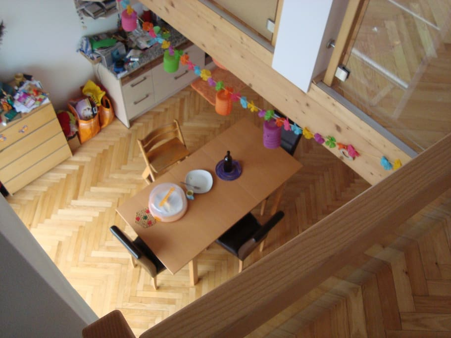 View of the kitchen/dining room from the loft space.