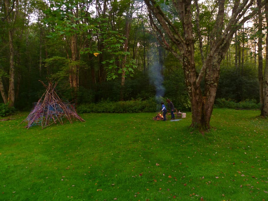 backyard teepee & campfire