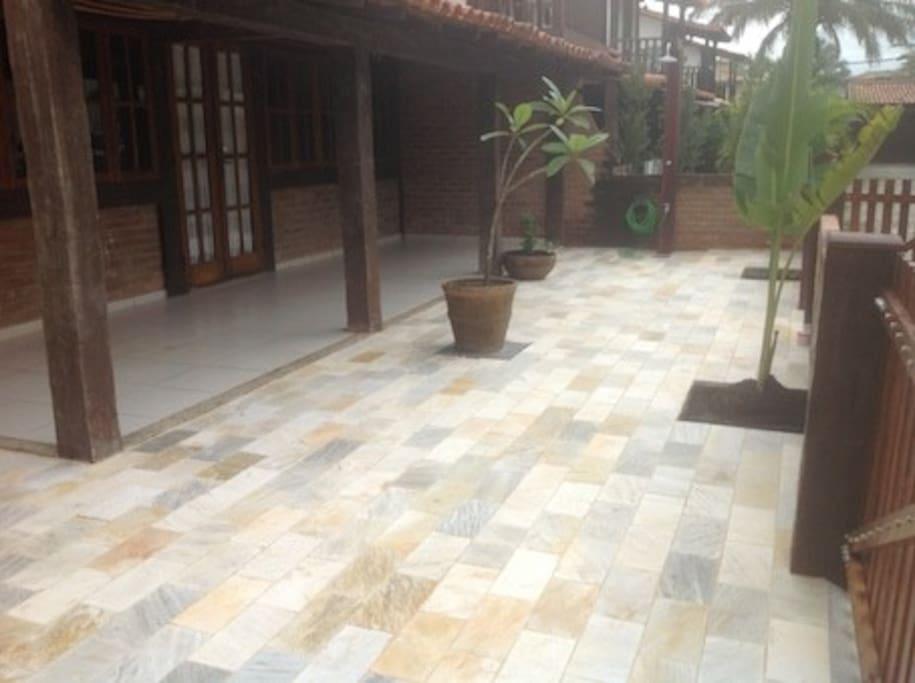 Front veranda with outdoor shower