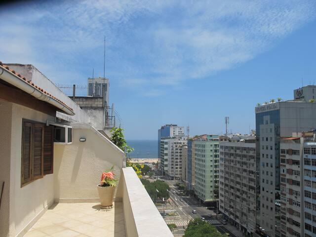 Vista da cobertura: Praia de Copacabana
