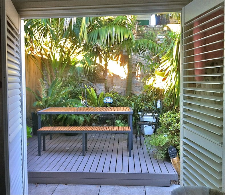 gorgeous outdoor eating area for the warmer months...right outside the main bedroom