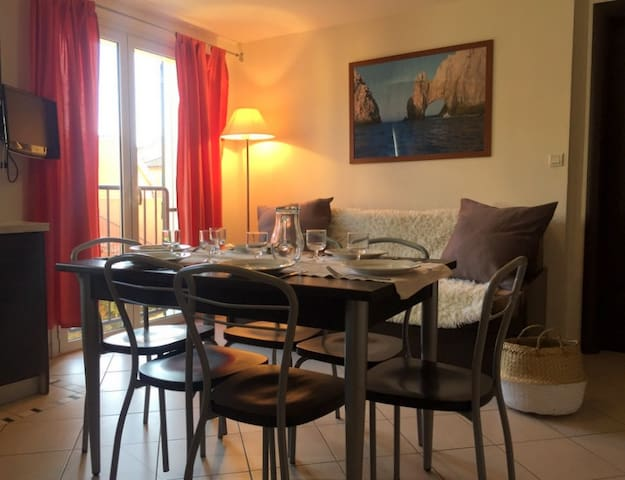 espace salon/cuisine avec canapé
