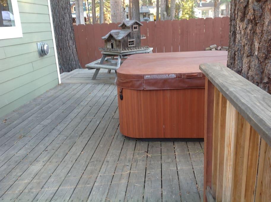 Hot tub located adjacent to studio