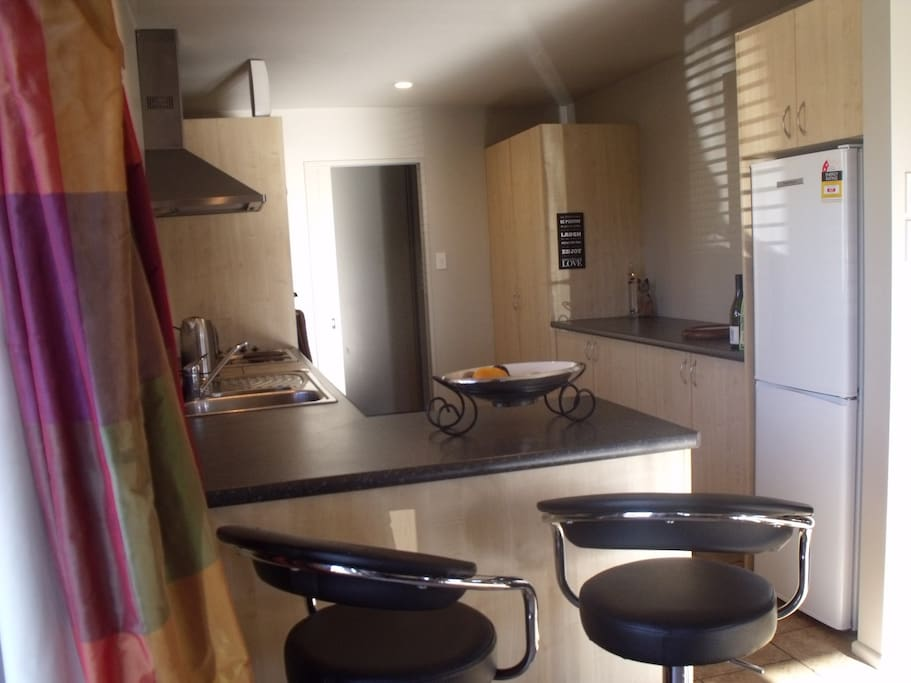 Well equipped kitchen with everything you need for your stay.  You only need to bring your favourite food and beverages.