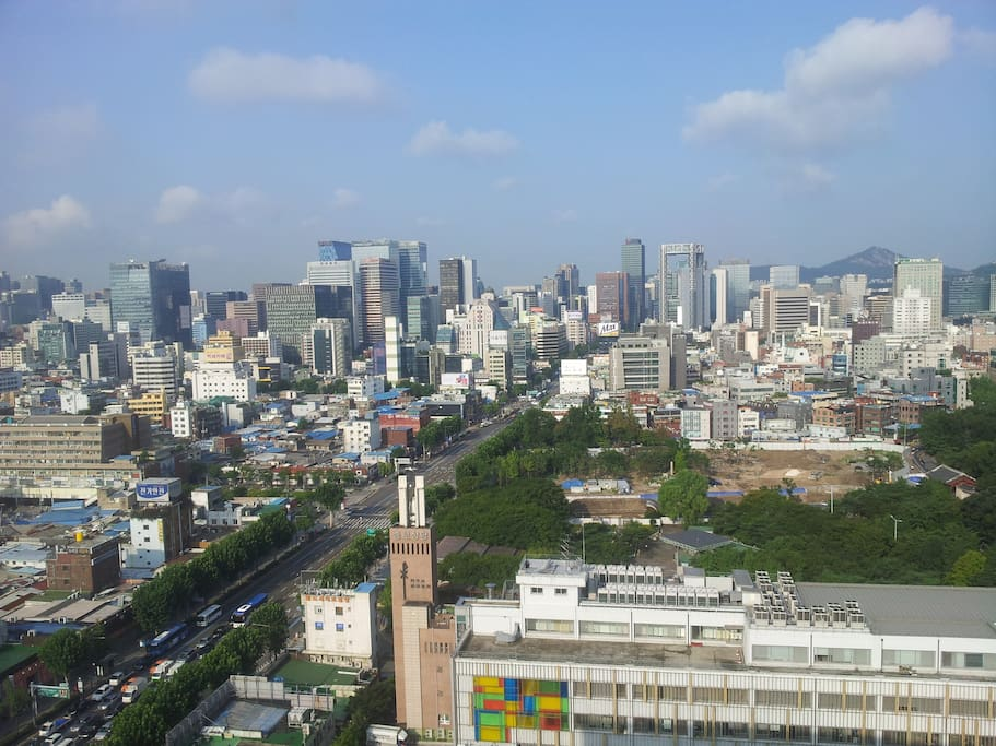 Seoul city view from the terrace. It gets way prettier during the evening.