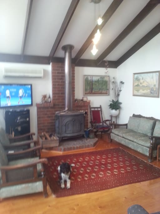 Lounge room with cathedral ceilings, cast iron wood fire, TV
