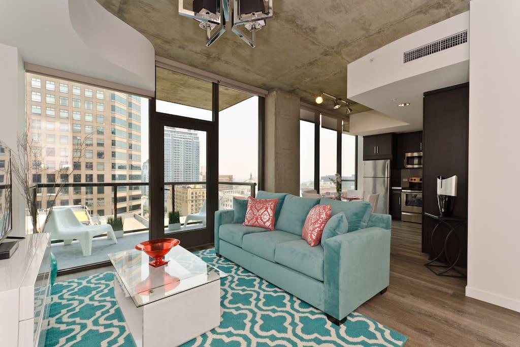 Custom designed living room with high end furniture