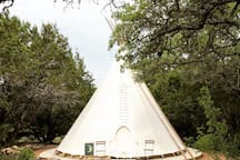 Outside of La Luna tipi