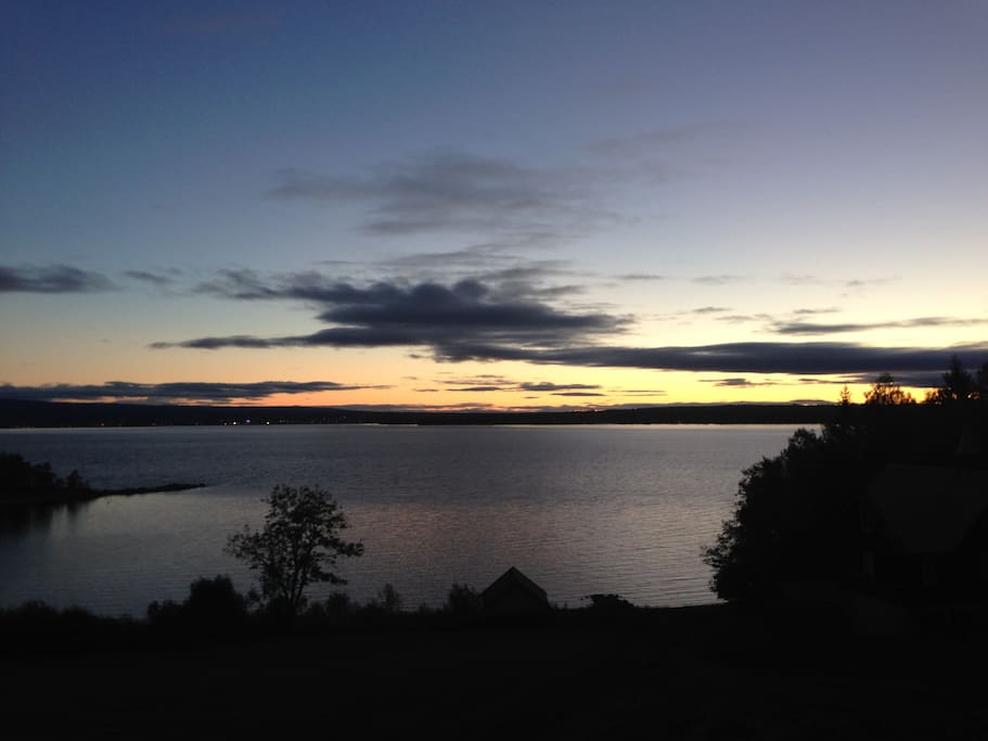 View from the house. You can see Hamar on the other side of the lake Mjøsa.