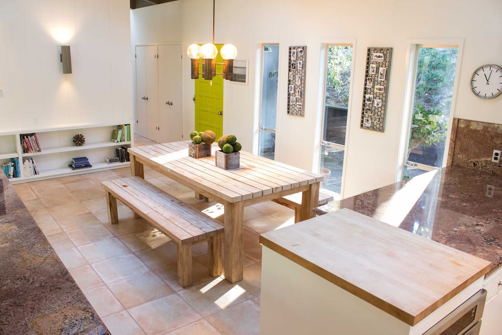 Large dining table seats up to 12.