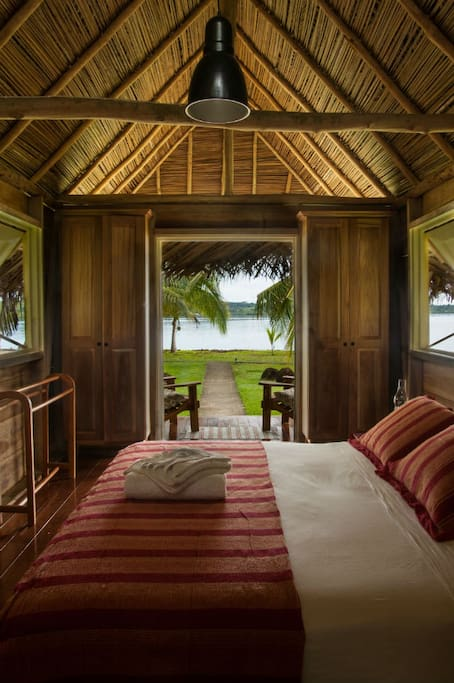 Each cabana has unobstructed sea views across the bay