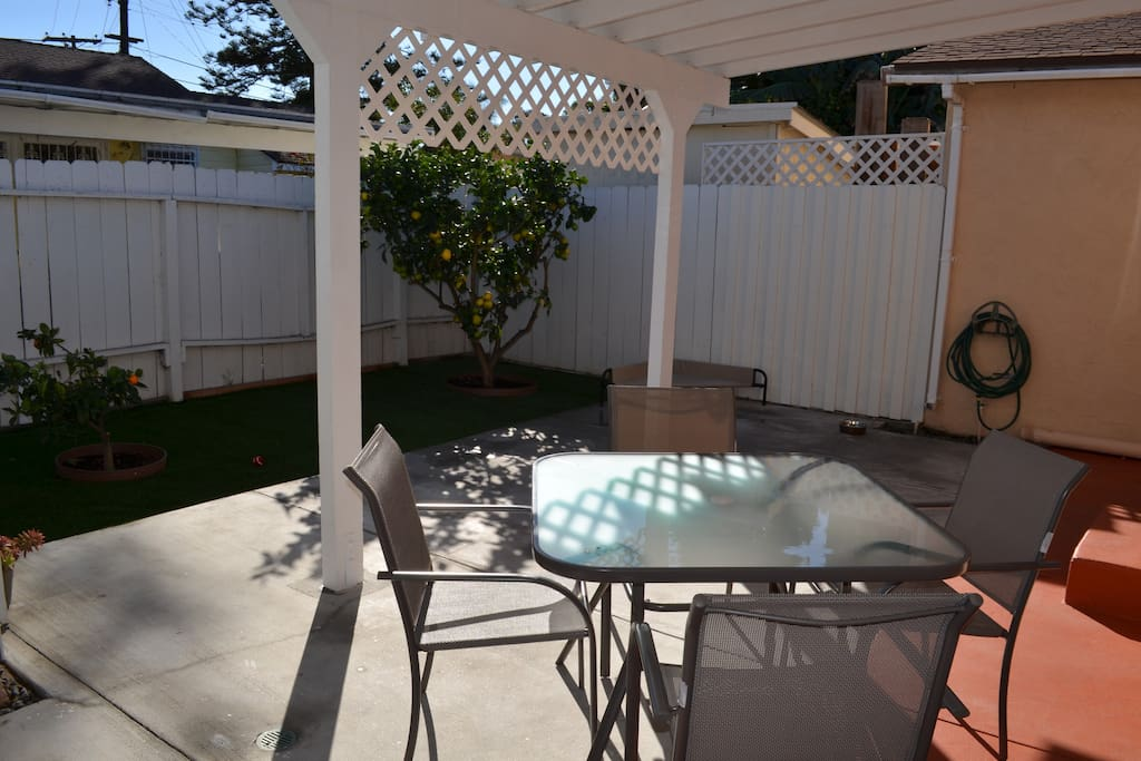 Backyard area with sitting area and lemon tree!