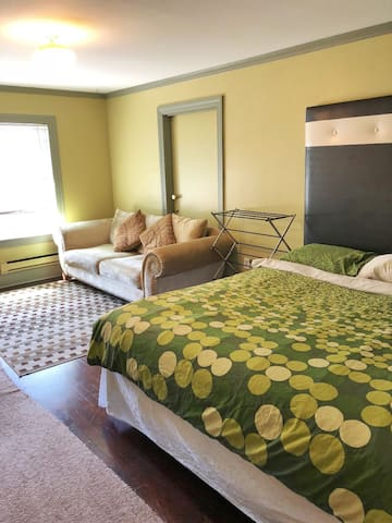 A comfortable King size bed and long sofa in a spacious studio with real hard wood floor