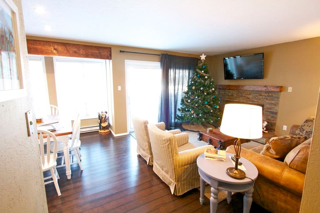 Great room features combination living, dining and kitchen.