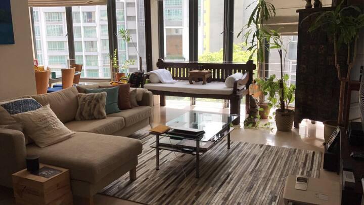 spacious cozy rm in modern condo in city center!