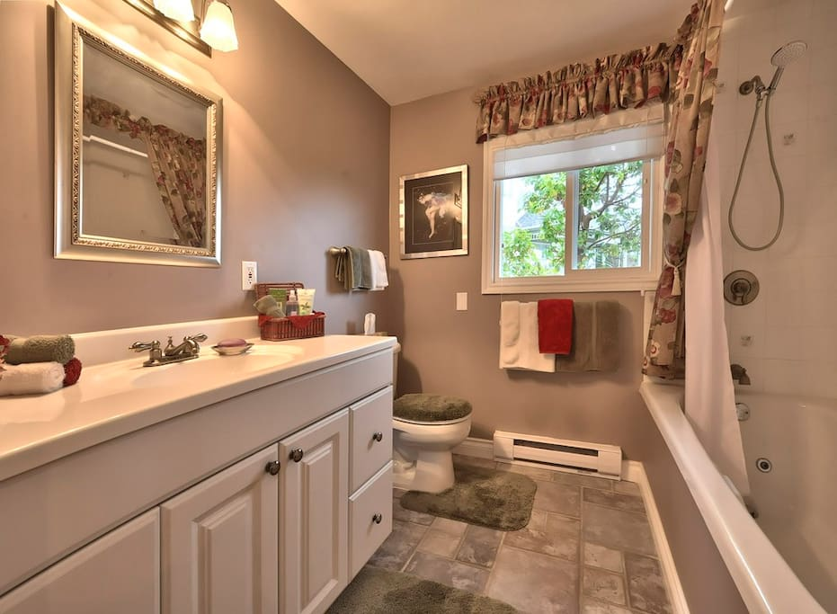 Small but a luxurious bathroom with jacuzzi tub.