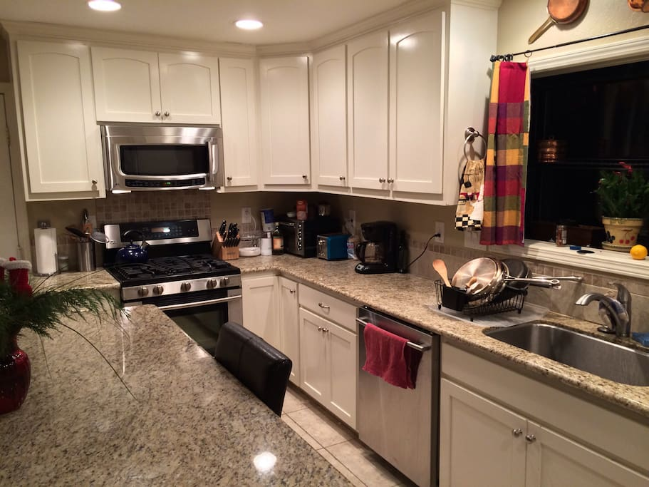 The ideal chef's kitchen; stainless steel everything, gas range, and granite counters