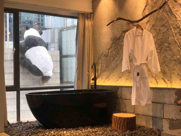 (特价)無玄·废墟美学民宿/IFS熊猫爬楼正对面/下楼春熙路/步行3分钟到太古里/看熊猫观景浴缸