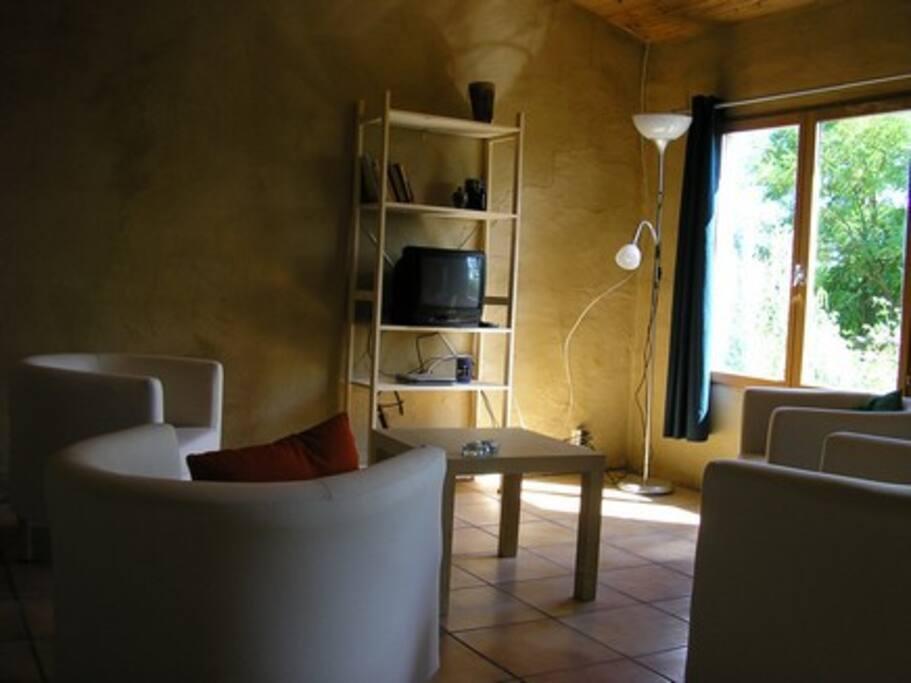 grote woonkamer met zithoek en tv