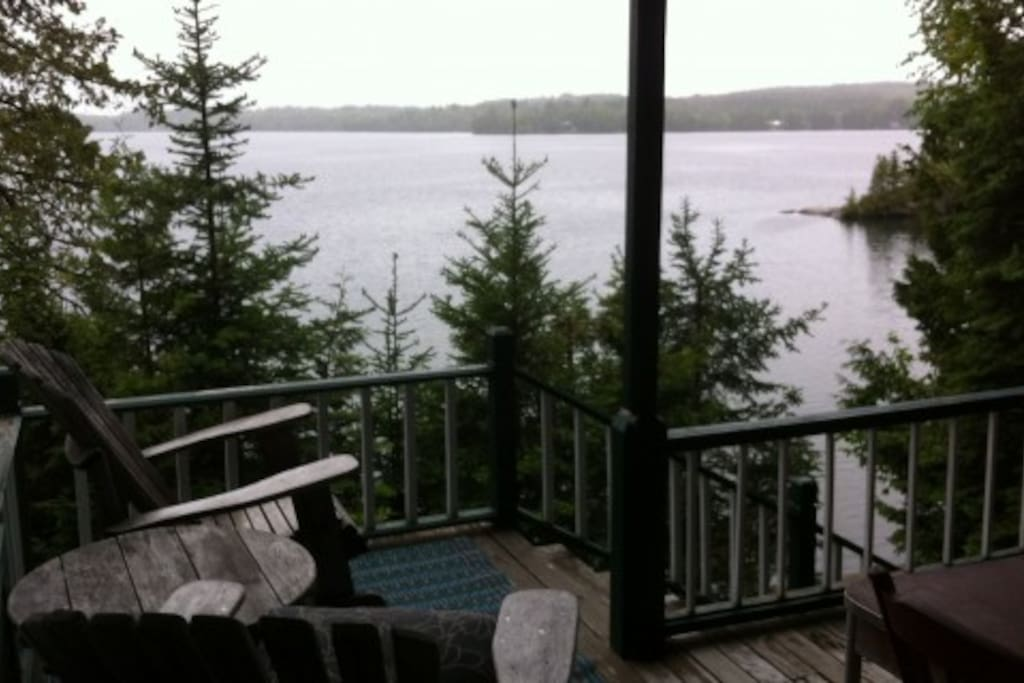 Rainy day porch view is magical