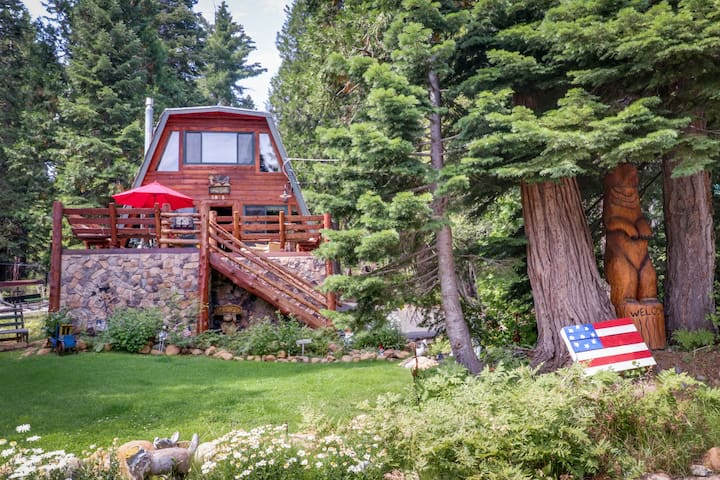 Bright log cabin surrounded by California pine w/ private hot tub