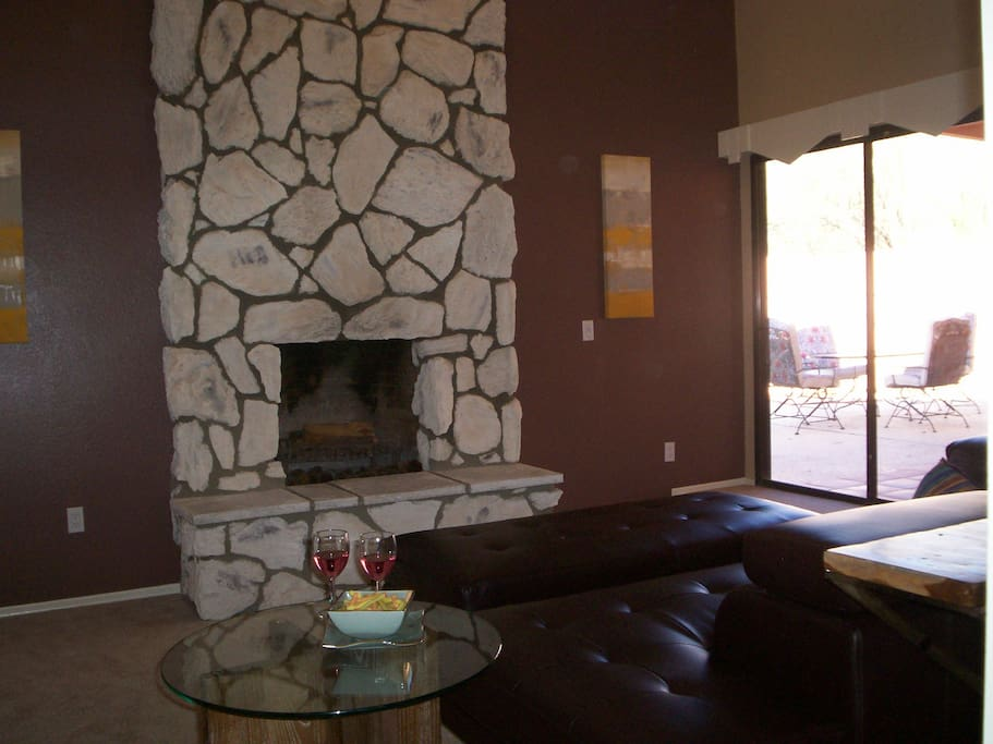 Living Room with Fireplace and views of the Catalinas