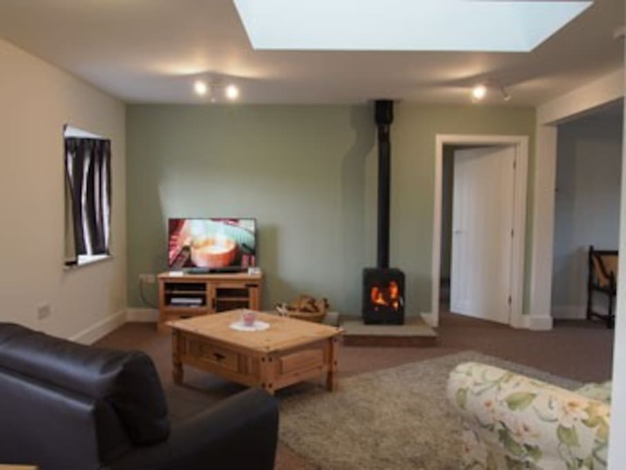Lounge featuring woodburner