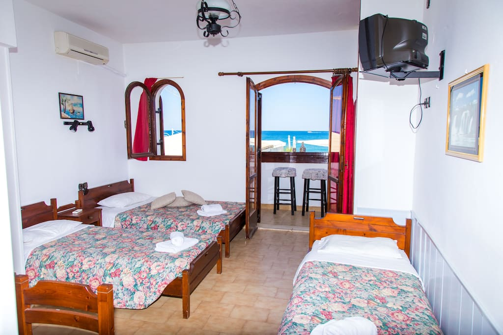 First studio, with three beds and sea view