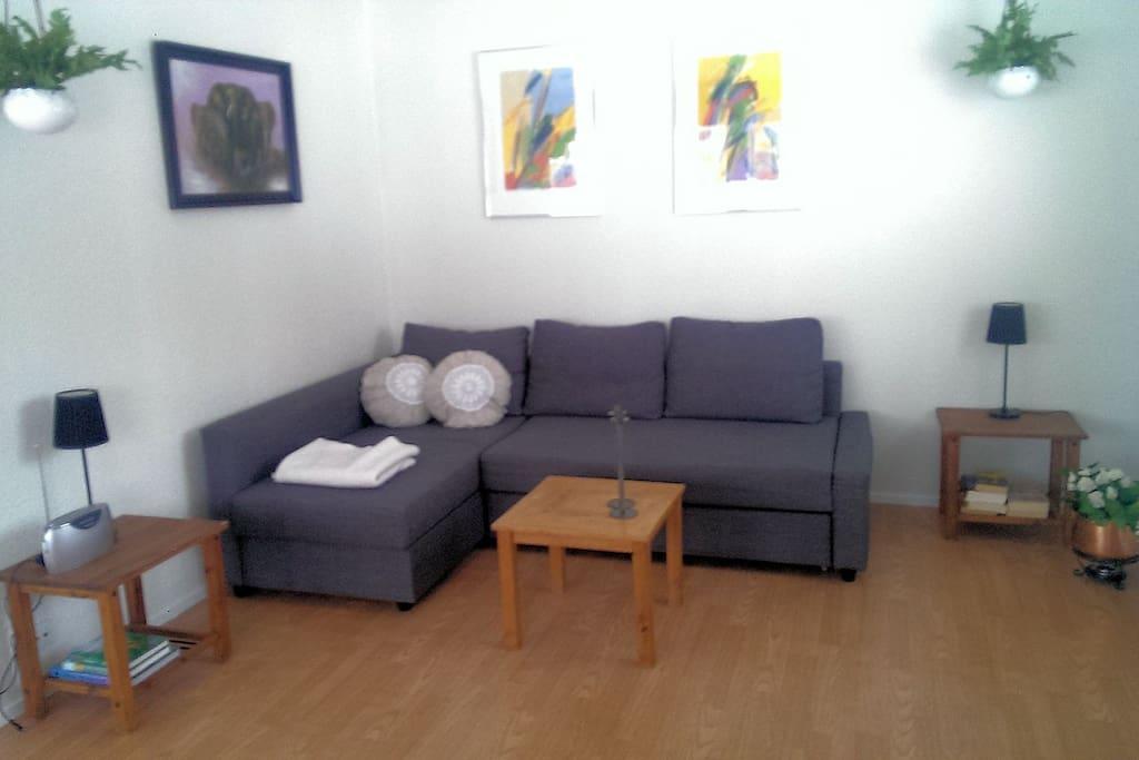 Stue med 2 gode sovesofaer og nye topmadrasser 140 x 200