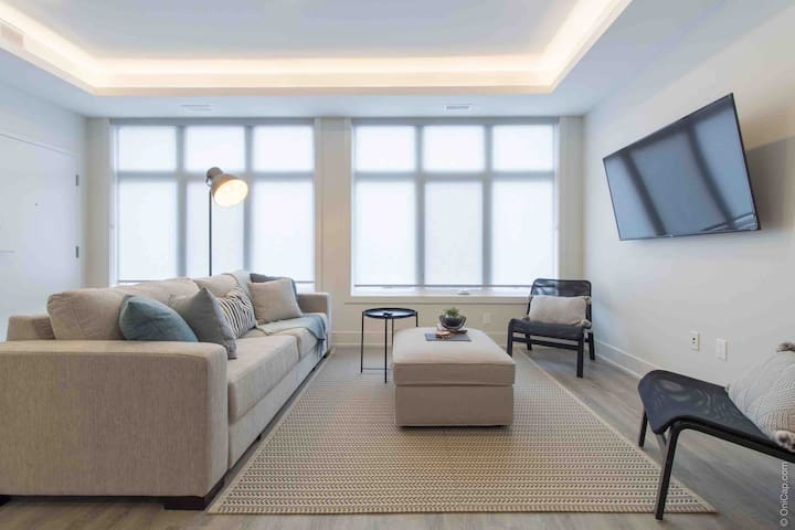 Open concept living room with sofa bed