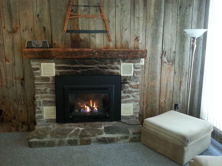 Gas fireplace in warm and comfortable living room with wood paneling from 18th century barn