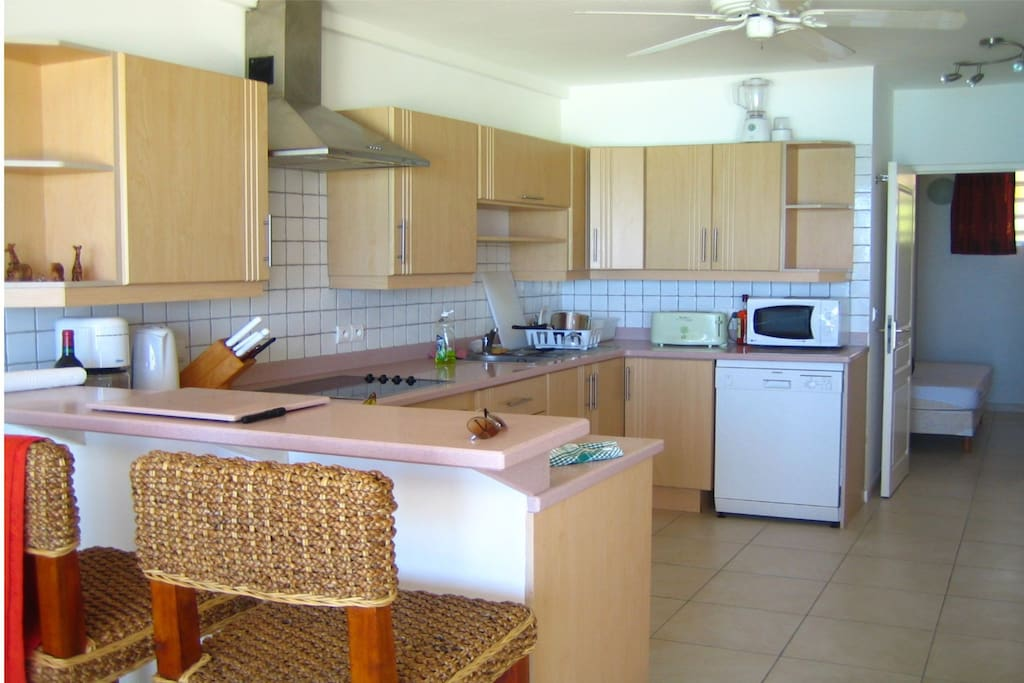 Fully equipped kitchen, washer and dryer