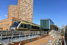 The Union Pearson Express Bloor Station is a ten minute walk. Taking you  downtown in 7 minutes or out to the airport in 15 minutes.